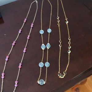 3 J Crew gold and glass necklaces